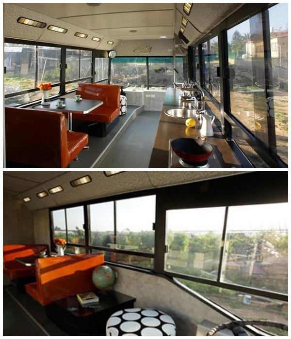 Большие окна дома на колесах зрительно увеличивают пространство.