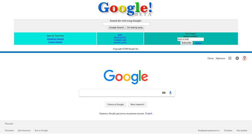 История в кадрах: популярные сайты в начале своего пути