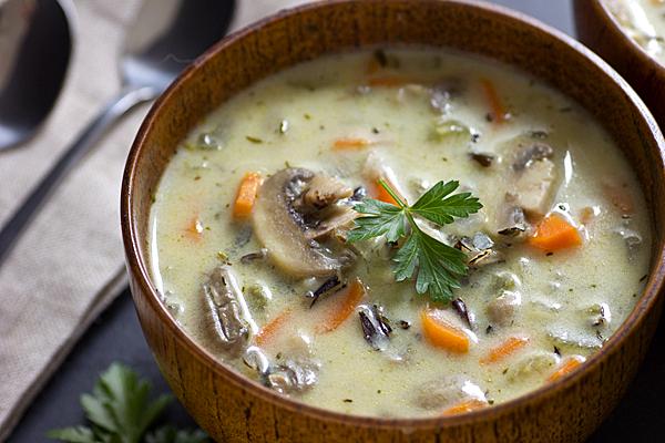 Грибной сливочный суп с рисом