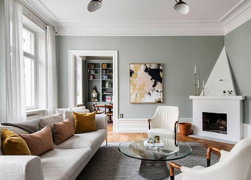 Когда пространство и цвет великолепны: квартира в Стокгольме