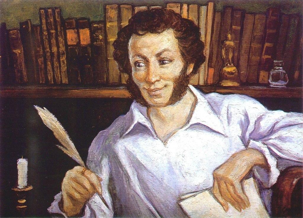 деятельности пушкин с утра сидит за столом пишет стихи гусиным пером красиво ухаживал избранницей
