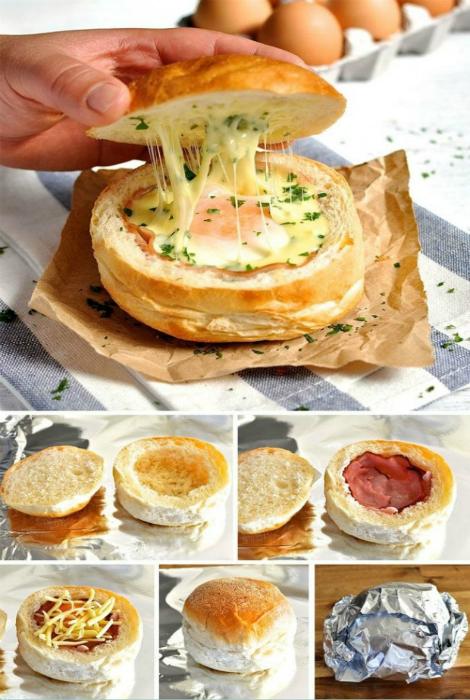 Питательный сэндвич с яйцом, беконом и сыром, запеченный в духовке.