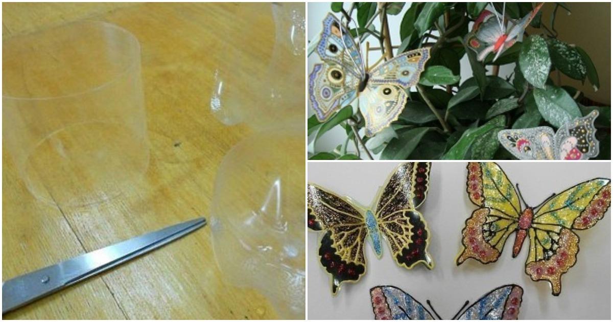 Превратите пластиковую бутылку в прекрасную витражную бабочку