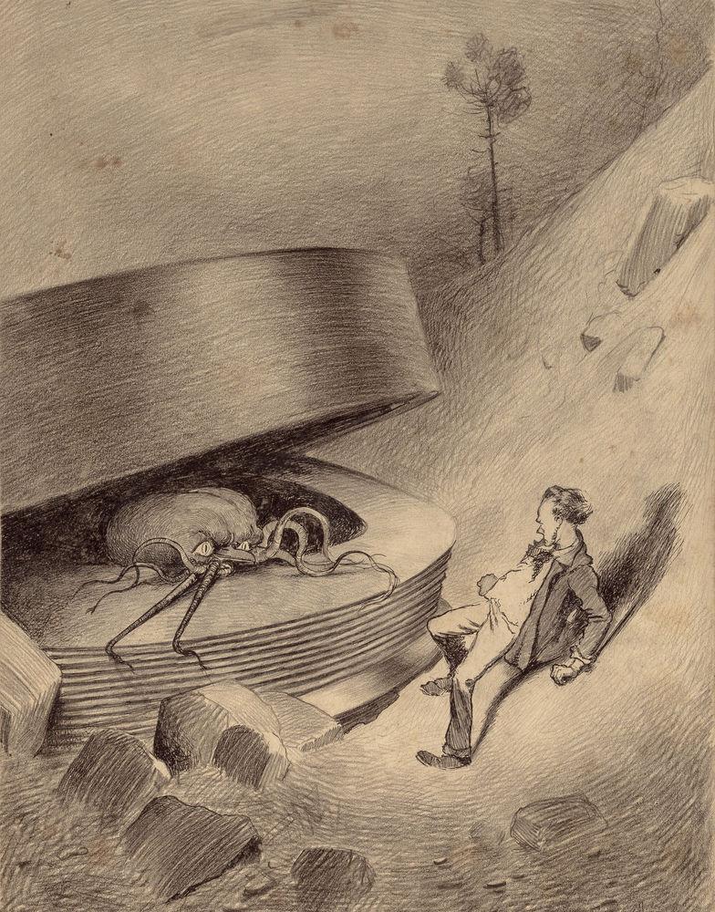 Появляется марсианин Герберт Уэллс, война миров, иллюстрации, история