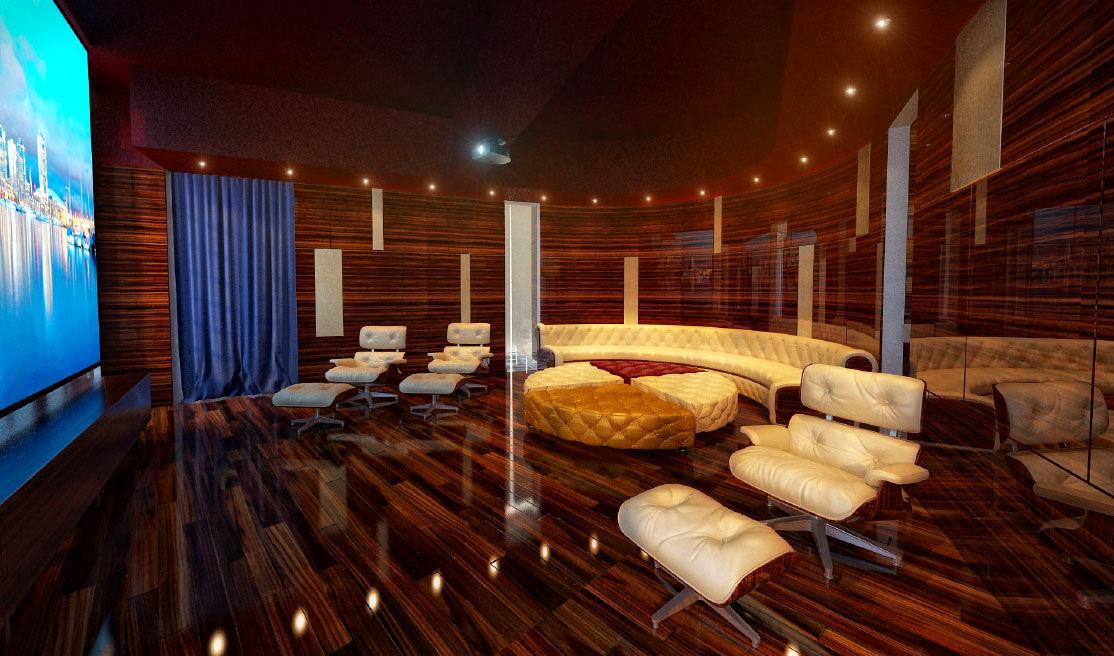 Домашний кинотеатр в цветах: фиолетовый, бордовый, темно-коричневый, коричневый, бежевый. Домашний кинотеатр в стиле эклектика.