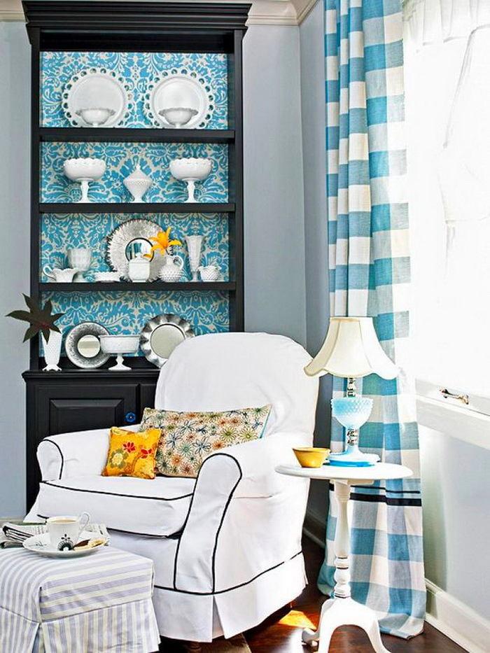 Гостиная, холл в цветах: голубой, серый, белый. Гостиная, холл в .