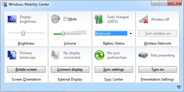 Центр мобильности Windows на стационарном компьютере