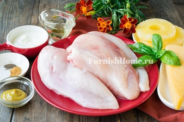 Куриное филе запеченное с ананасами блюда из курицы,мясные блюда