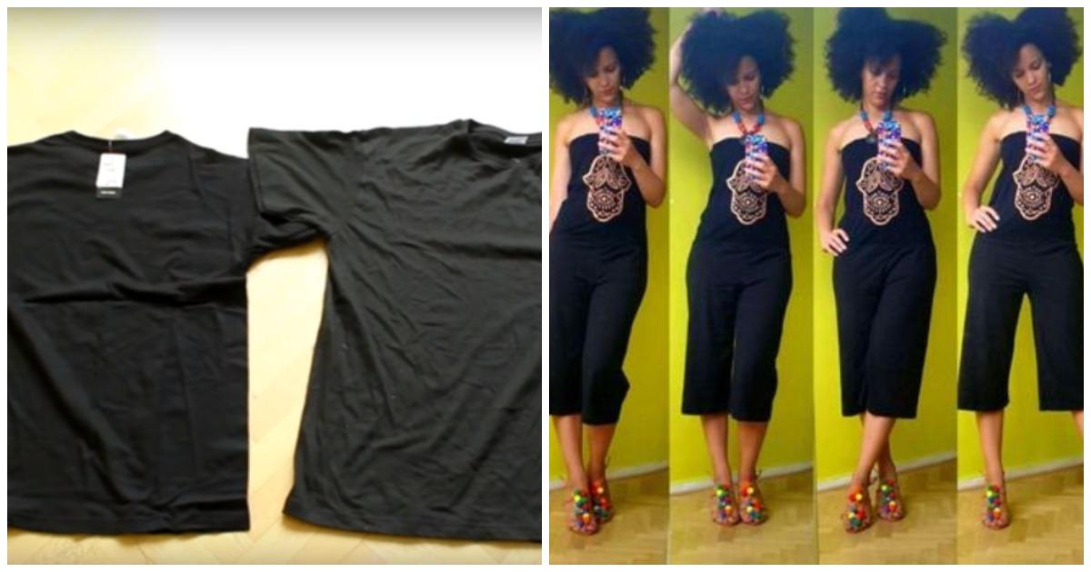 Оригинальный комбинезон из двух футболок: 30 минут и обновка готова