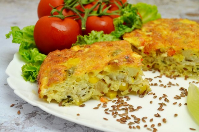 Рыбная запеканка с овощами и сырным соусом