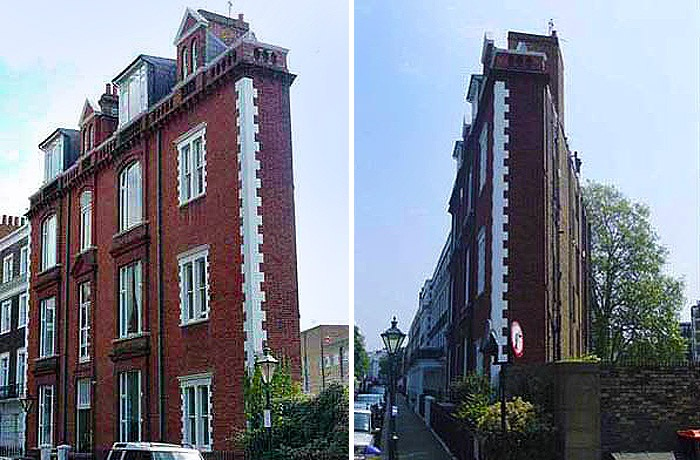 «Дом-картонка» в Лондоне имеет западный торец лишь 2,1 метра (Великобритания).
