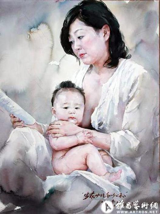 Мать с ребенком. Автор: Liu Yunsheng.