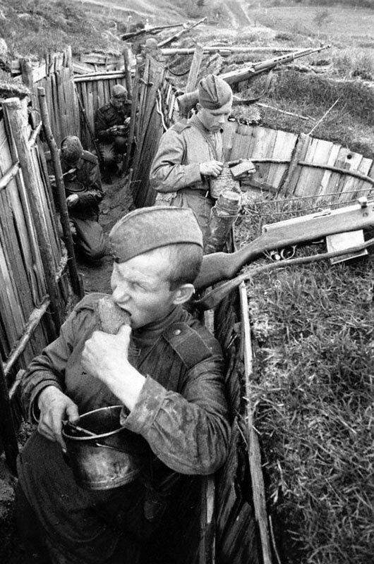 Советские солдаты отделения старшего сержанта И.Ф. Васькина обедают на оборудованных позициях Великая Отечественная Война, архивные фотографии, вторая мировая война