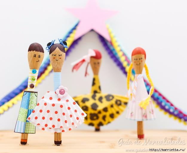 Куколки из деревянных ложек и стаканчиков для кексов