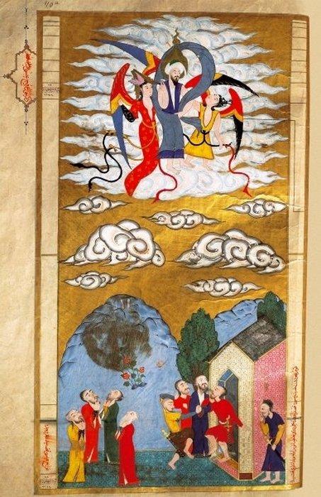 Вознесение на Небеса Пророка Муххамеда в сопровождении Архангела Гавриила. Копия миниатюры из Басен Лукмана. Арабская рукопись, 1583