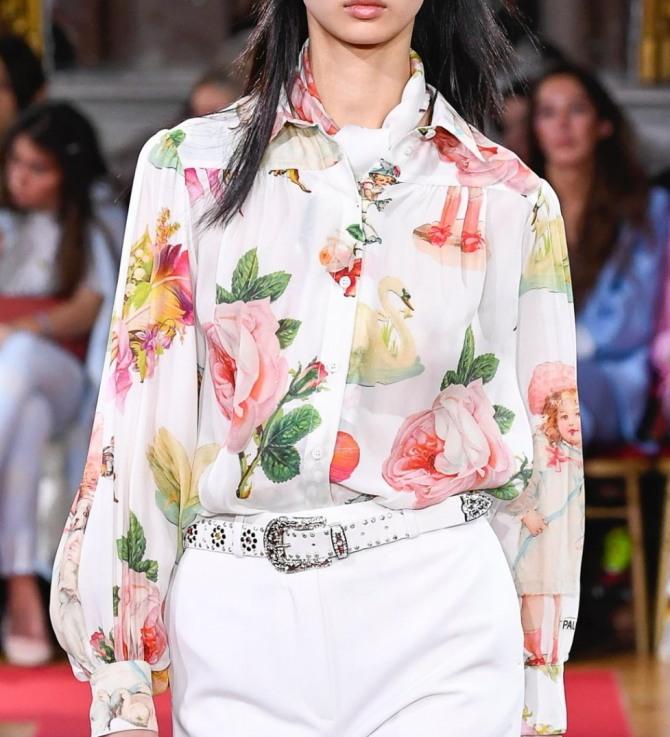 роскошная белая шелковая блузка в цветах натуральной величины
