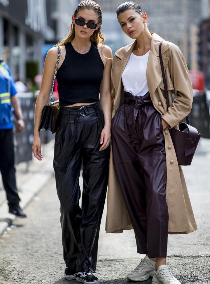 Как стильно носят кожаные брюки streetstyle модницы? мода,мода и красота,модные блогеры,модные тенденции,уличная мода