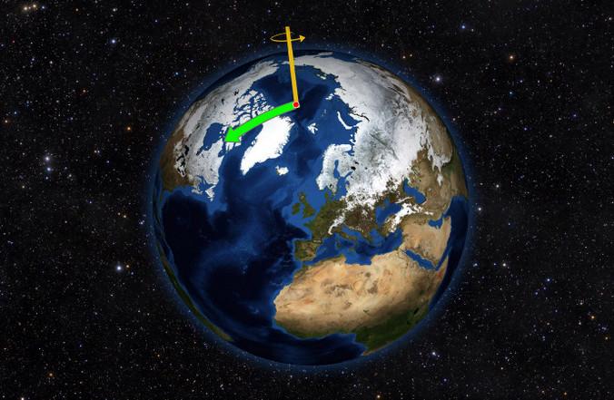 Северный полюс Земли смещается на восток