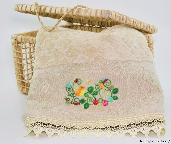 Украшаем полотенце вышивкой с птичками