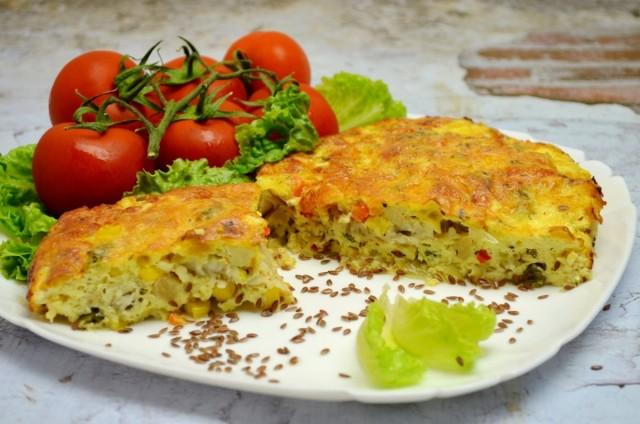Рыбная запеканка с овощами и сырным соусом готова!