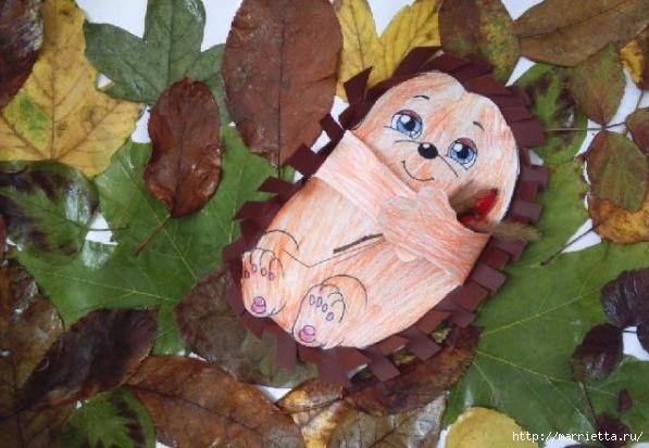 Ежик в осенних листьях. Шаблоны (8) (597x413, 142Kb)