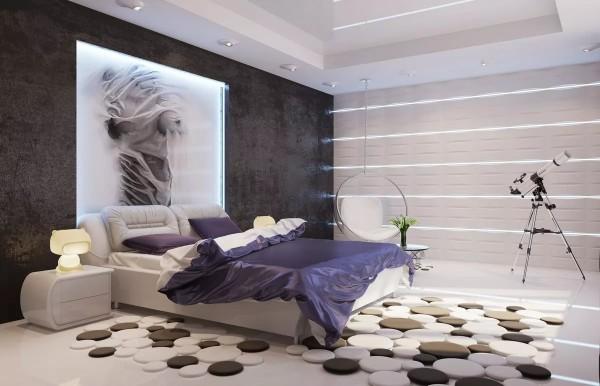 интересные дизайнерские ковры на полу в современной спальне
