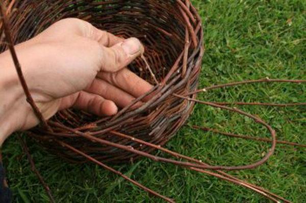 Для формирования кромки корзины, загните и толстые прутья, вплетая их с более тонкими в косу
