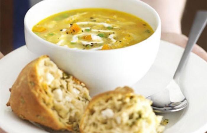 Аппетитный суп-пюре с запеченной курицей
