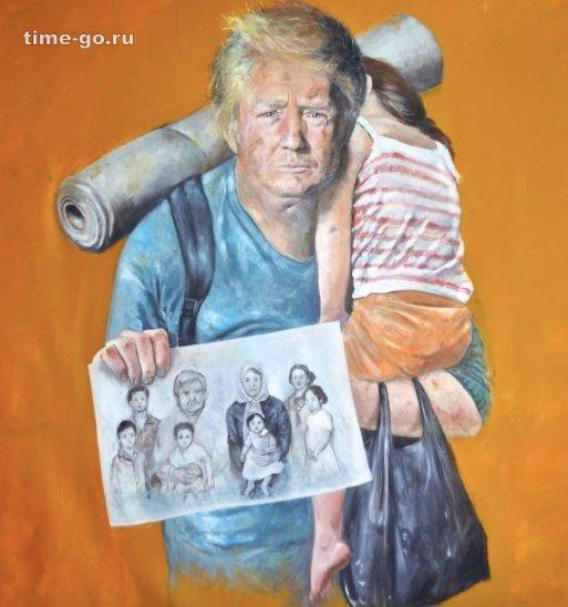 Сирийский художник-беженец рисует картины мировых лидеров, на которых они тоже беженцы.