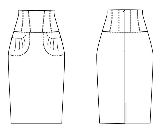 Выкройка юбки карандаш с широким поясом кокеткой