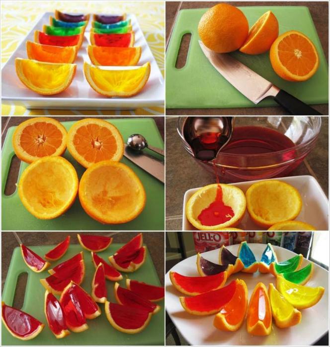 Обыкновенное желе, сделанное в апельсиновой корке.
