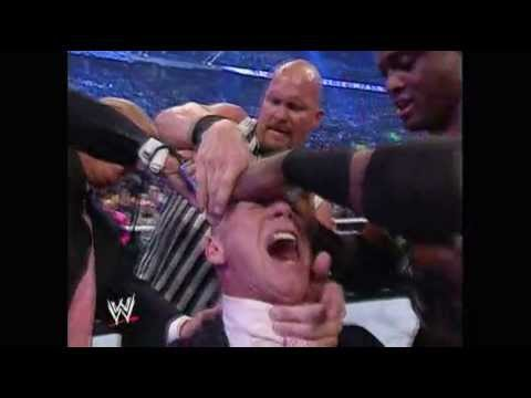 wrestlemania 23 Donald Trump shaves off McMahon's hair HD