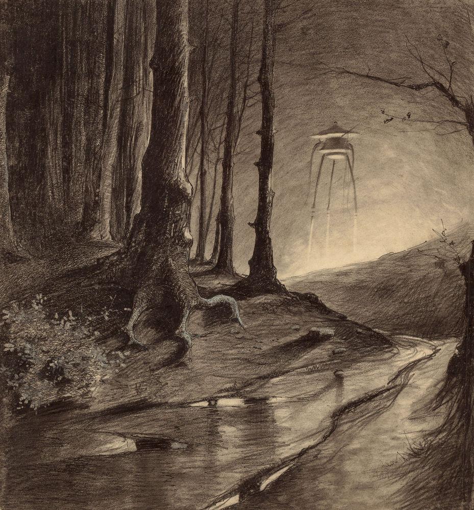 Марсианин в лесу Герберт Уэллс, война миров, иллюстрации, история
