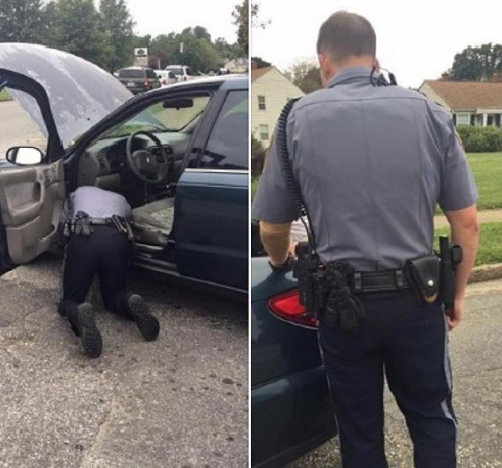 Полицейский остановил девушку, но не стал выписывать штраф, а починил ей машину