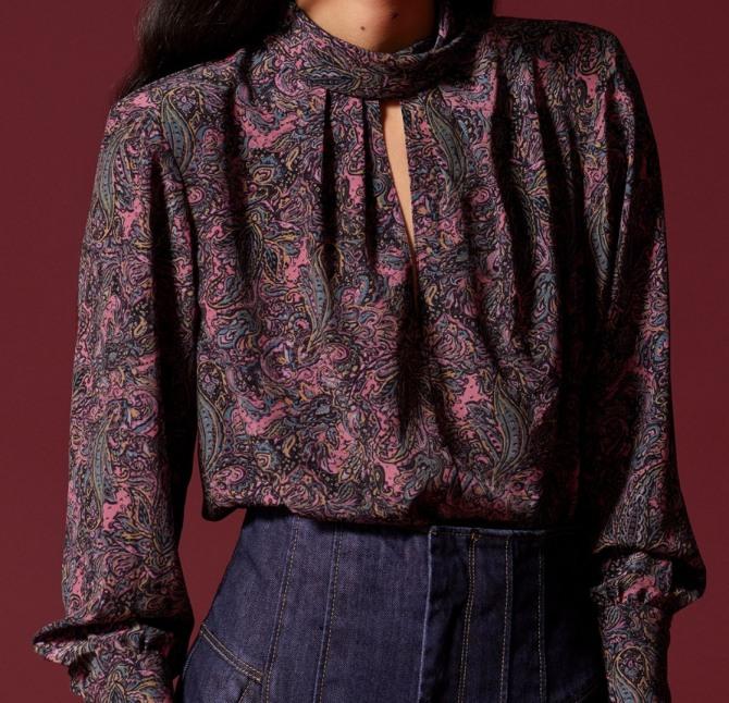 блузка из штапеля с растительным принтом