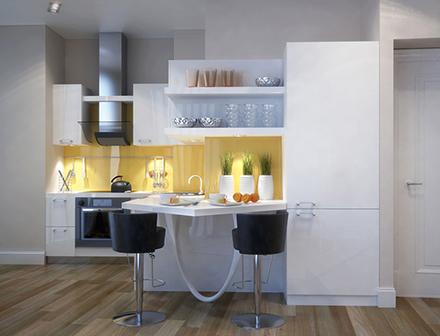 Кухня в малогабаритной квартире от Azari Architects