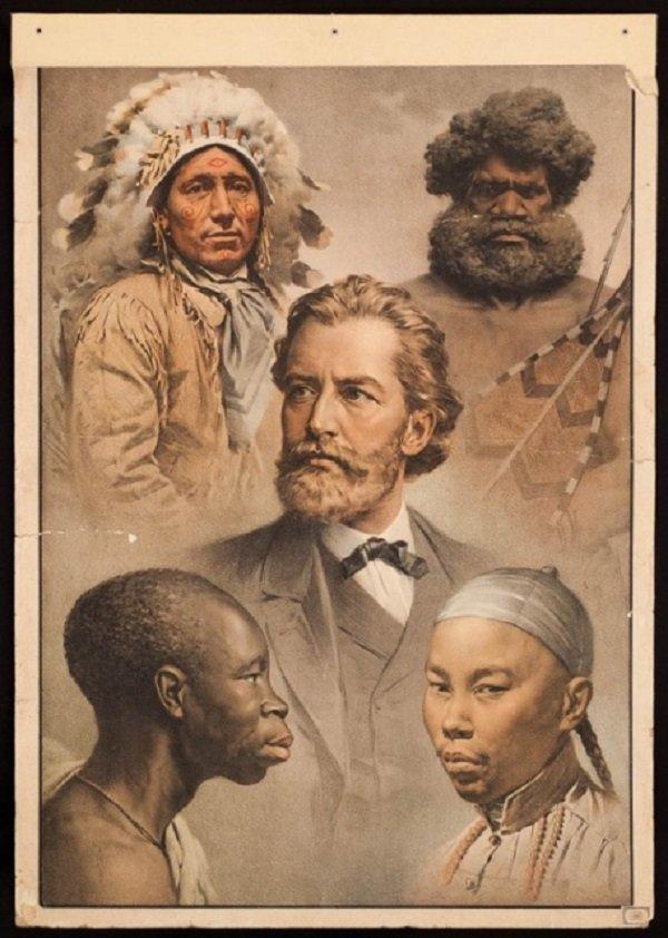 «Пять рас человечества». Плакат, 1911 год история, люди, мир, фото