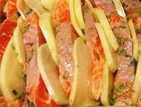 Филе лосося с картофелем в духовке