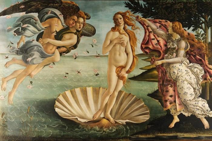 Рождение Венеры работы Сандро Боттичелли. В образе Венеры - Симонетта.