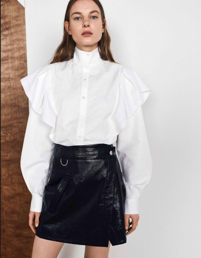 красивая белая деловая блузка - воротник-стойка, длинный рукав на манжете, накладные рукава-крылышки