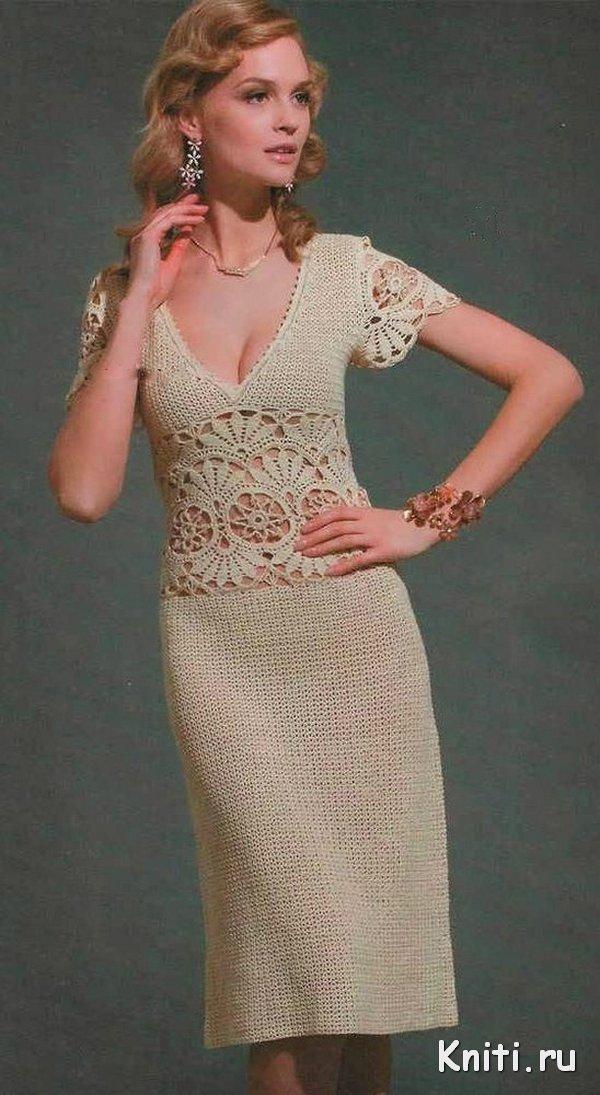 Элегантное летнее платье крючком