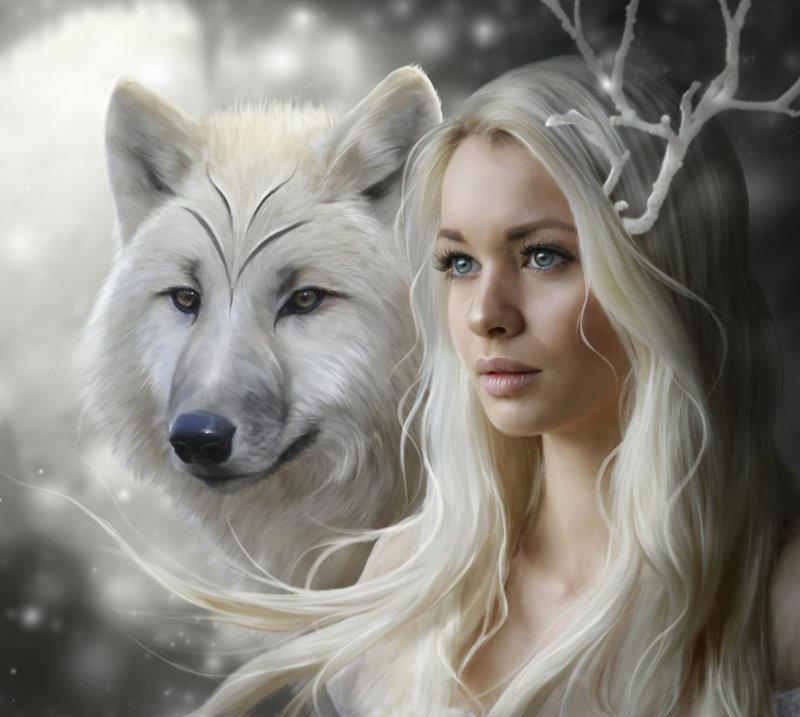 Картинки девушек и волков