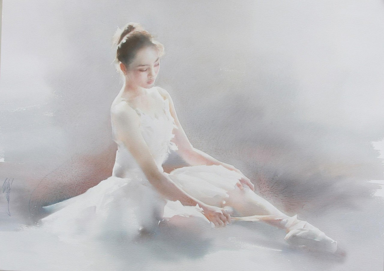 Воздушные балерины в акварелях Liu Yi