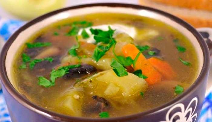 Грибной суп с маринованными огурцами в мультиварке