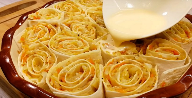готовим пирог из лаваша с капустой и грудинкой