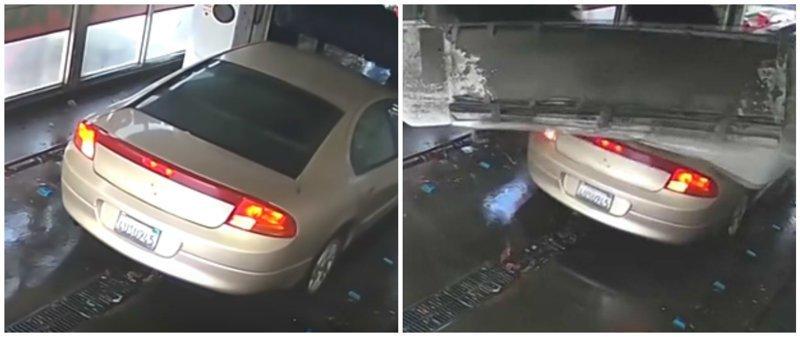 Напористый водитель разносит автомойку: видео ynews, авто, автомойка, баран, видео, интересное, машина