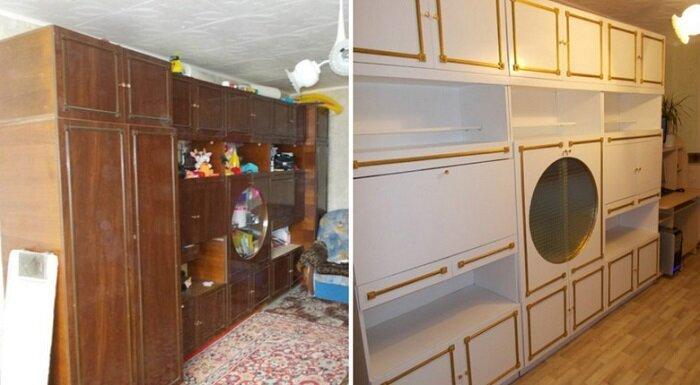 Если бы не старое стекло, вариант справа вполне можно принять за новый до и после, идея, мебель, ремонт, своими руками, фантазия