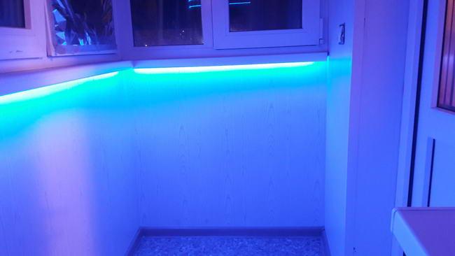 Подсветка подоконника на балконе своими руками