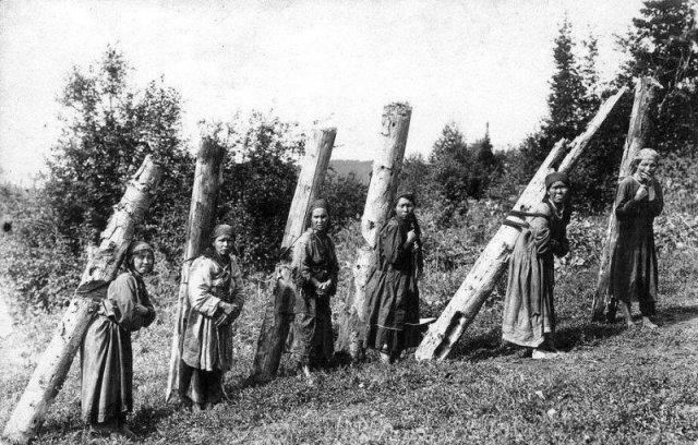 Женщины на заготовке дров, Алтай, Горная Шория, 1913 год. история, люди, мир, фото
