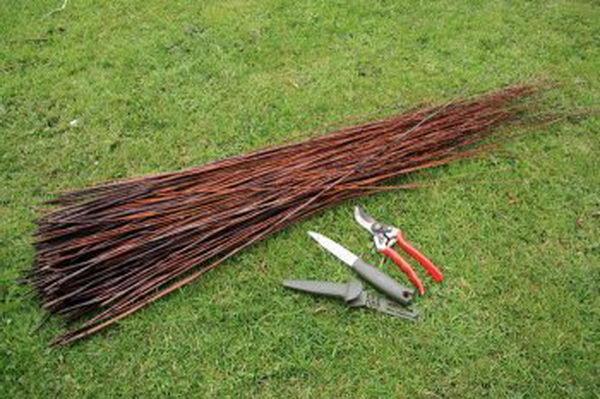 Для изготовления корзинки из ивовых прутьев вам будут нужны:  ивовые побеги; нож; секатор.